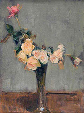 Roses in a Glass Vase By Isaac Israels