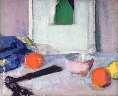 Still Life of Picture Fruit and Fan By Francis Campbell Boileau Cadell
