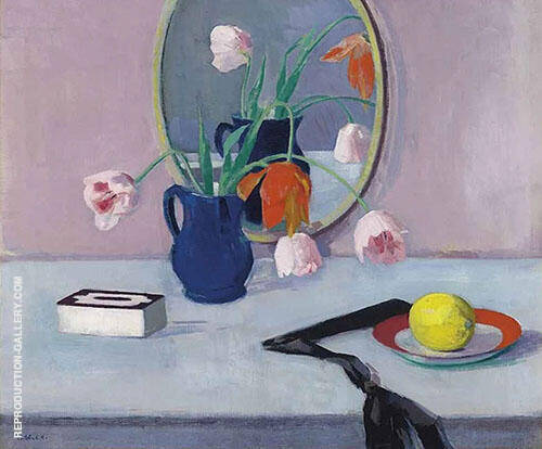 Still Life with Pink Tulips in a Blue Jar By Francis Campbell Boileau Cadell