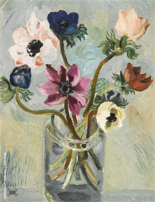 Anenomes in Glass Jar 1925 By Christopher Wood