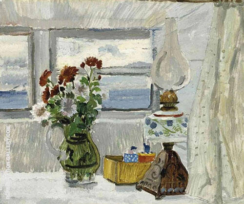 Flowers and Lamp in a Cornish Window 1928 By Christopher Wood