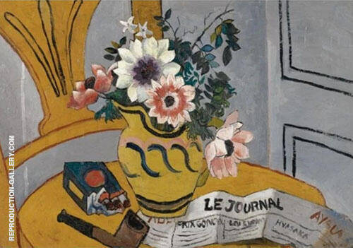 Flowers on a Chair with Pipe and Paper By Christopher Wood