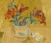 Lilies in a Decorated Bowl 1928 By Christopher Wood