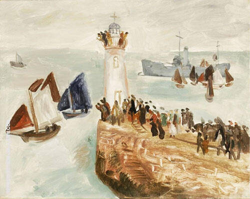 Shipping off Newlyn Harbour c1926 By Christopher Wood