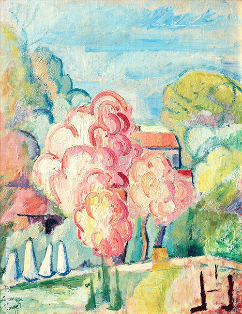 A Flowering Fruit Tree Painting By Isaac Grunewald - Reproduction Gallery