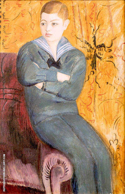 Boy in Sailor Costume Painting By Isaac Grunewald - Reproduction Gallery