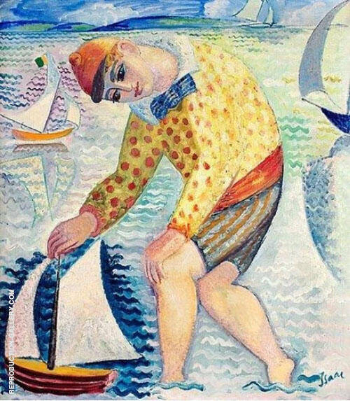 Boy with Sailing Boat 1918 Painting By Isaac Grunewald