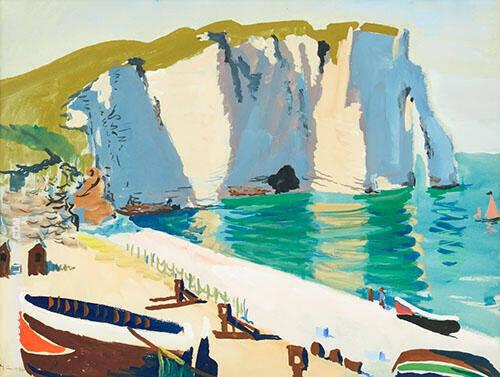 Coastal Scene with Rocks and Boats Etretat By Isaac Grunewald