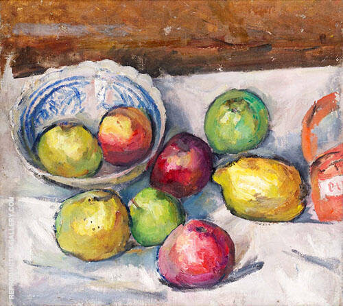 Fruit on White Duck Cloth By Isaac Grunewald