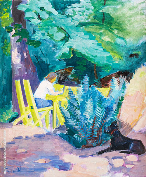 Girl with Dog in The Garden By Isaac Grunewald