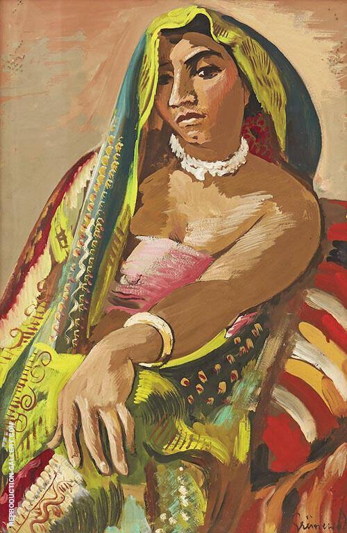 Hindu Woman in an Indian Shawl By Isaac Grunewald