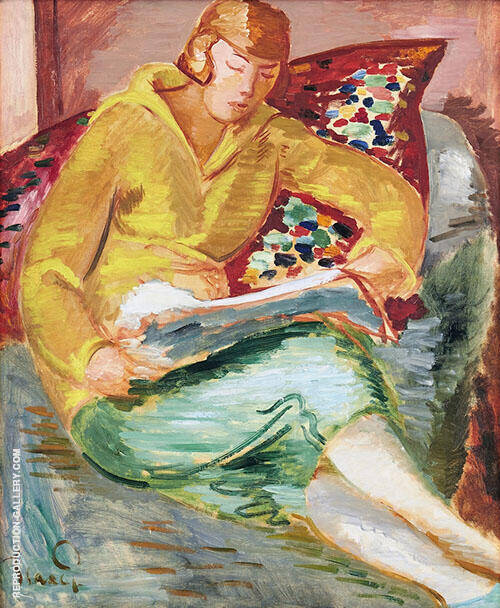 In Yellow Cardigan and Green Skirt By Isaac Grunewald