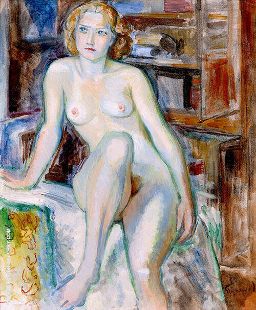 Seated Nude By Isaac Grunewald