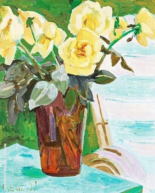 Still Life with Yellow Flowers 1939 By Isaac Grunewald