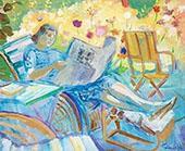 Woman Reading By Isaac Grunewald