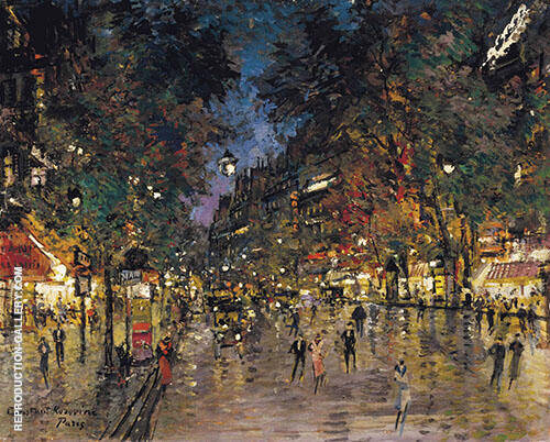 Bustling Street in Paris Painting By Konstantin Korovin