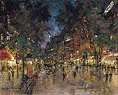 Bustling Street in Paris By Konstantin Korovin