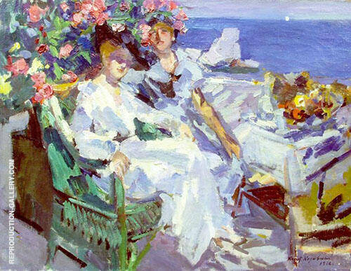 On a Terrace By Konstantin Korovin