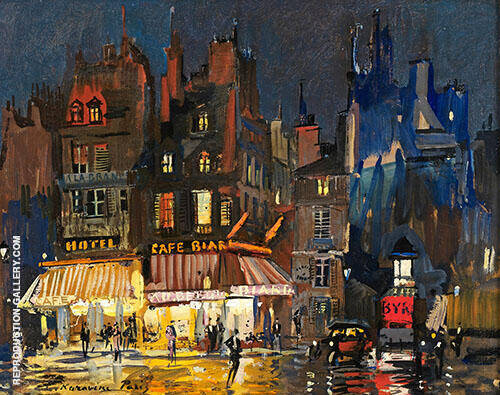 Paris by Night on Rue Lepic in Montmartre Painting By Konstantin Korovin
