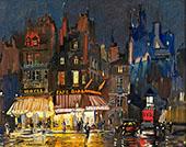 Paris by Night on Rue Lepic in Montmartre By Konstantin Korovin
