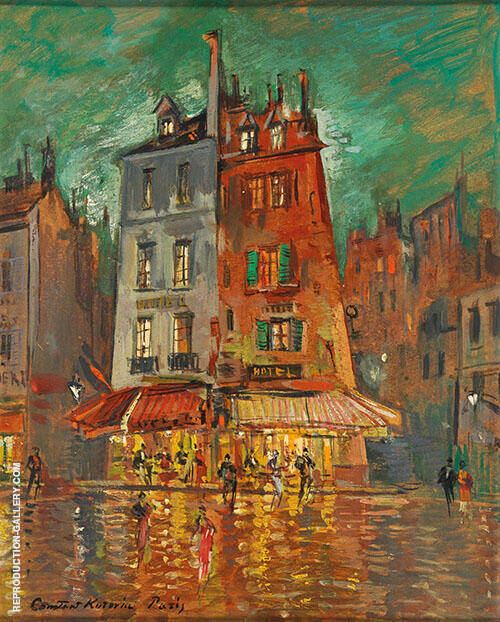 Paris Rue de Venise Nightime By Konstantin Korovin