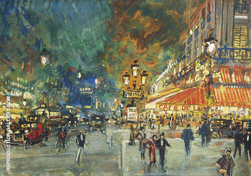 Place de 'Opera with Cafe de la Paix at Night, Paris By Konstantin Korovin
