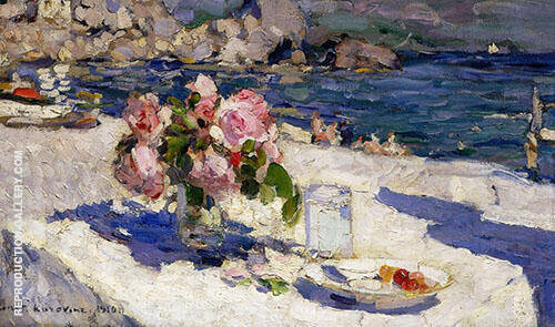 Vase of Roses By Konstantin Korovin
