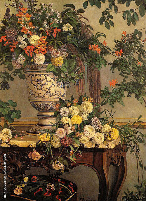 Flowers 1868 Painting By Frederic Bazille - Reproduction Gallery