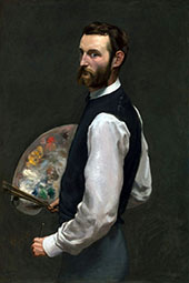 Self Portrait with Palette 1865 By Frederic Bazille