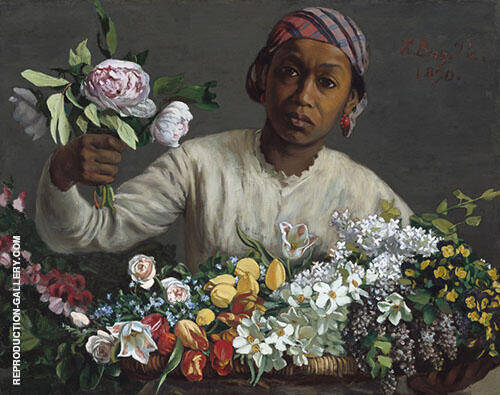 Young Woman with Peonies 1870 By Frederic Bazille