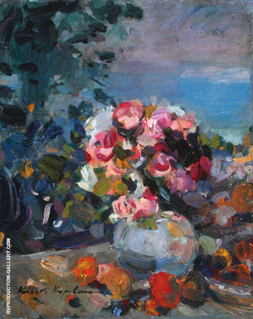 A Fresh Bouquet A Floral Still Life With Fruit By Gustave Loiseau