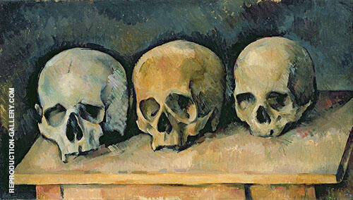Three Skulls c1900 Painting By Paul Cezanne - Reproduction Gallery