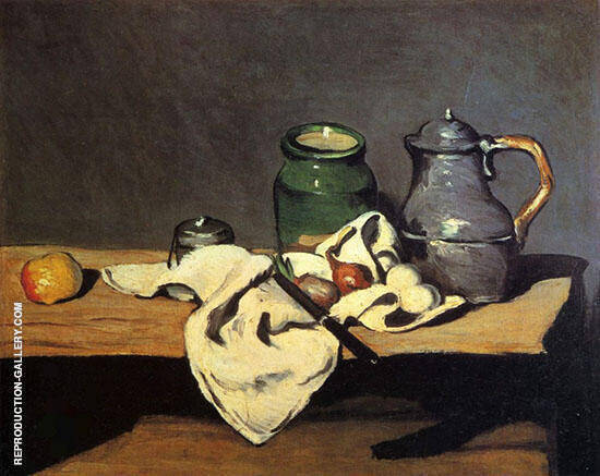 Still Life with Green Container and Tin Pot 1869 By Paul Cezanne