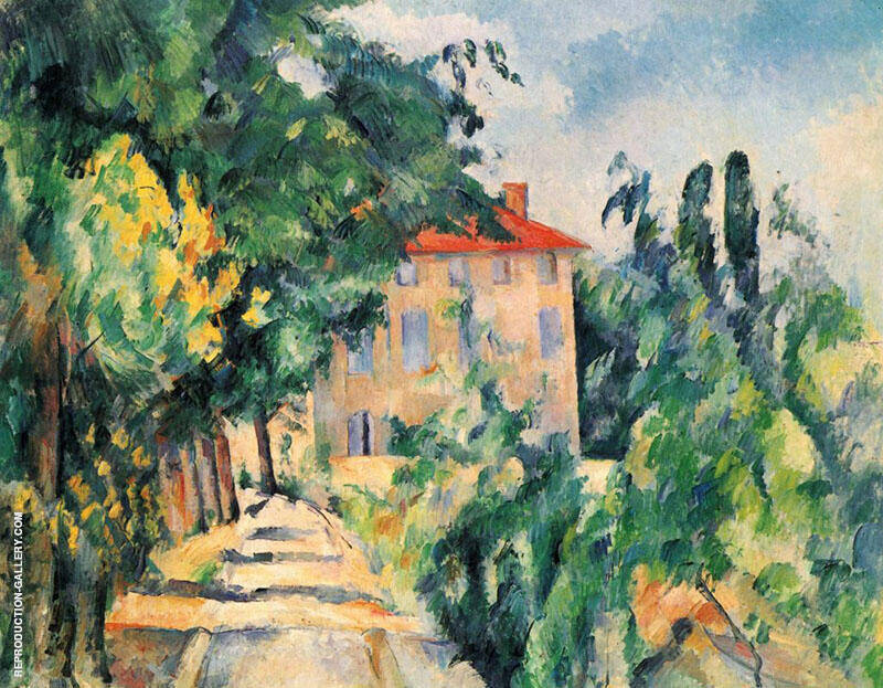 House with Red Roof 1890 By Paul Cezanne