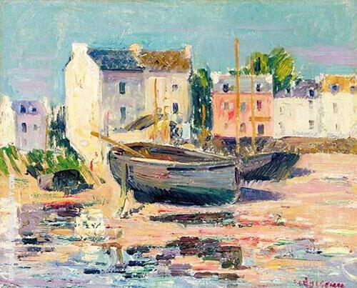 Les Barques Echouees Dans un Port 1913 By Gustave Loiseau