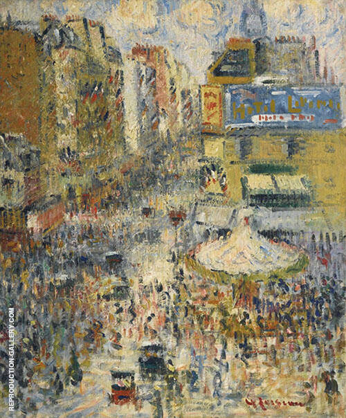 Rue De Clignancourt Sun The Fourteenth of July Painting By Gustave Loiseau