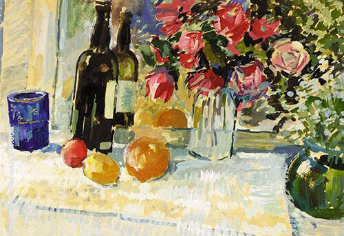 Still Life with Bottle of Wine By Gustave Loiseau
