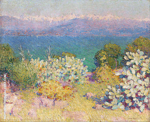 In The Morning Alpes Maritimes from Antibes c1891 By John Peter Russell