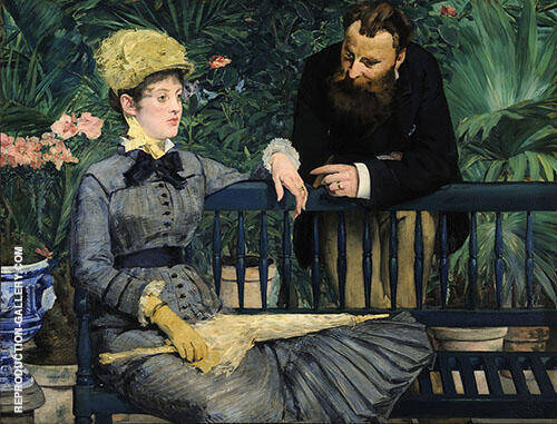 In the Conservatory 1879 Painting By Edouard Manet - Reproduction Gallery