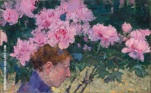 Peonies and Head of a Woman 1887 By John Peter Russell