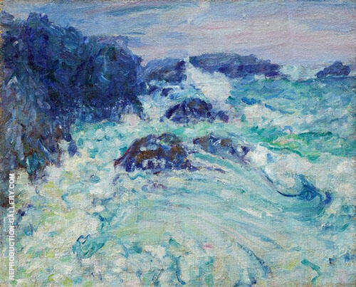 Rough Sea Morestil c1900 Painting By John Peter Russell