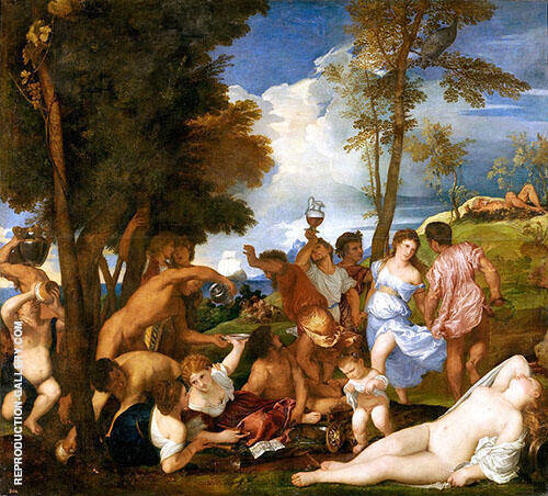 The Bacchanal of the Andrians By Tiziano Vecellio (TITIAN)