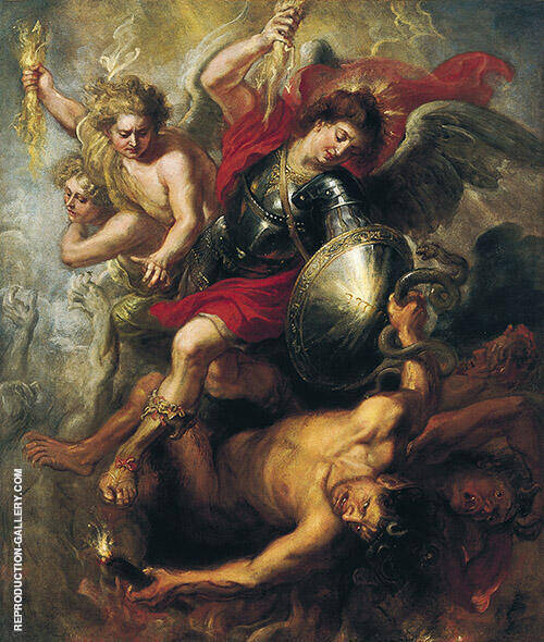 Saint Michael Expelling Lucifer and the Rebellious Angels 1622 Painting By ...