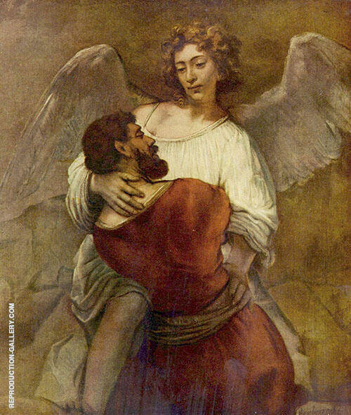 Jacob Wrestling with the Angel 1659 Painting By Rembrandt Van Rijn