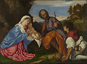 The Holy Family with a Shepherd By Tiziano Vecellio (TITIAN)