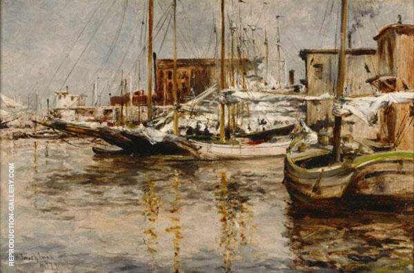 Oysters Boats 1879 by John Henry Twachtman | Oil Painting Reproduction Replica On Canvas - Reproduction Gallery