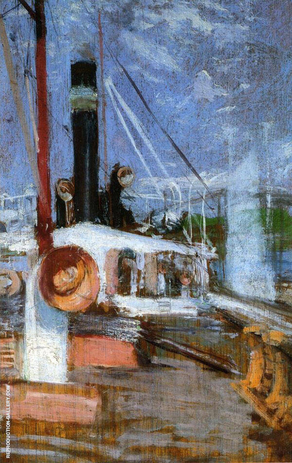 Aboard a Steamer 1902 by John Henry Twachtman | Oil Painting Reproduction Replica On Canvas - Reproduction Gallery