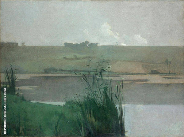 Arques la Bataille 1885 by John Henry Twachtman   Oil Painting Reproduction Replica On Canvas - Reproduction Gallery