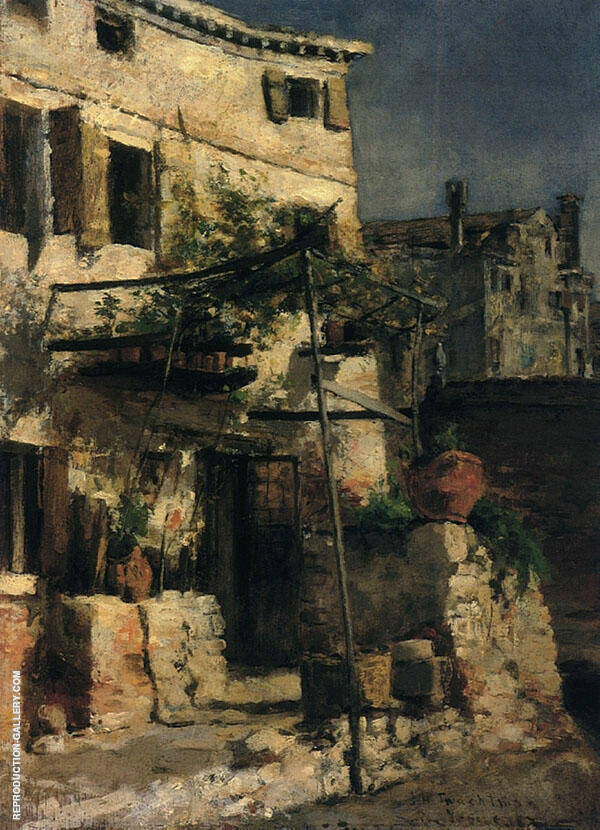Venetian Scene 1877 by John Henry Twachtman | Oil Painting Reproduction Replica On Canvas - Reproduction Gallery