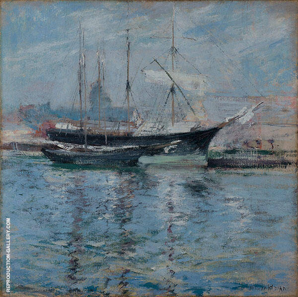 Italian Bark Schooner 1901 by John Henry Twachtman   Oil Painting Reproduction Replica On Canvas - Reproduction Gallery